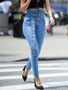 2e5d391055cf New Blue Belt Irregular Zipper High Waisted Casual Long Jeans