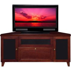 "Furnitech 61"" Tv Stand Shaker Corner Media Cabinet W/ Center Speaker Opening…"