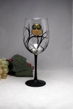 Golden Owl Wine Glass Hand Painted Dishwasher by ElegantlyHaunted