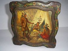 ANTIQUE VICTORIAN KEEN ROBINSON NATIVE AMERICAN INDIAN PICTORIAL MUSTARD TIN