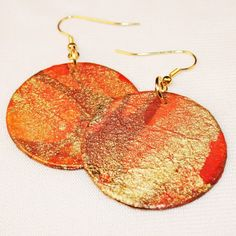 Orange and Gold Handmade Paper Earrings by AriDesigns on Etsy, $25.00