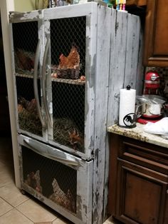 Chicken coop fridge wrap. Only at rmwraps.com. Every order is custom made to fit any fridge size. #rmwraps @rmwraps #backyardchickens #chickencoop #fridgewrap #printondemand