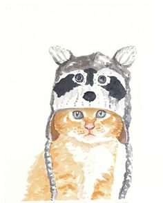 Kitten in a Raccoon Hat  ORIGINAL Watercolor por WaterInMyPaint