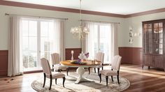 I created this English Romantic dining room using Design By What Matters by Benjamin Moore. It's the only room I've created so far I have *not* liked. What's your design personality? Picture Frame Wainscoting, Wainscoting Height, Wainscoting Bedroom, Dining Room Wainscoting, Wainscoting Hallway, Wainscoting Panels, Wainscoting Ideas, Benjamin Moore, Country Chic