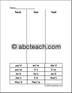 Word Sort: Contractions (have, had, has) - preview 1
