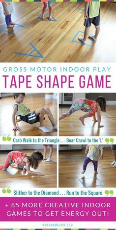 Best Active Indoor Activities For Kids including fun games with a roll of tape Gross Motor Games and Creative Ideas For Winter snow days Spring rainy days or for when Ca. Physical Activities For Kids, Fun Games For Kids, Games For Toddlers, Indoor Activities For Kids, Preschool Games, Sensory Activities, Activity Games, Toddler Activities, Learning Activities
