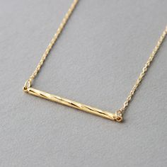 Gold Bamboo Bar Necklace