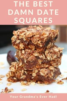 These are literally the best date squares ever! They are plant-based and can eaily be made gluten-free. These date squares will blow your grandma away! Vegan Treats, Vegan Snacks, Healthy Desserts, Vegan Food, Vegan Appetizers, Camp Desserts, Healthy Cookies, Raw Food, Healthy Recipes