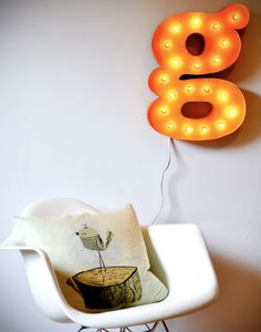 diy project: letter light from curbly's new DIY book.