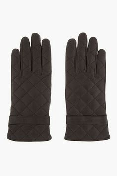 Mackage Black Quilted Leather Lennon Gloves