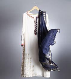 Off White & Navy Blue Woollen Palazzo Suit with Block Print
