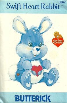 Butterick 3367 1980s Care Bears Cousins Swift Heart Rabbit Stuffed Animal Vintage Sewing Pattern by patterngate.com