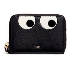 Anya Hindmarch 'Eyes' small leather zip wallet (€390) ❤ liked on Polyvore featuring bags, wallets, black, 100 leather wallet, leather zipper bag, real leather wallets, zipper bag and leather wallets