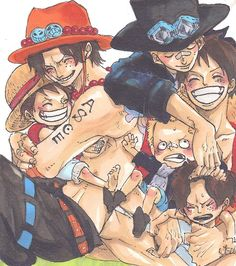 Portgas D. Ace, Monkey D. Luffy and Sabo From One Piece