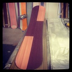 Pink and purple dyed veneer snowboard. www.ozsnowboards.com