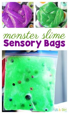 Use glitter monster slime and googly eyes to make sensory bags for kids of all ages Halloween Activities For Kids, Slime For Kids, Crafts For Kids, Preschool Halloween, Sensory Bags, Sensory Bottles, Infant Activities, Sensory Activities, Kindergarten Activities