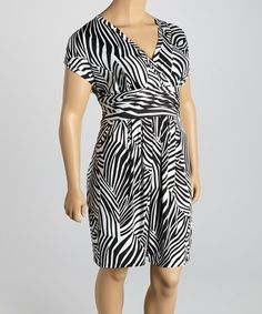 Look what I found on #zulily! Black Zebra Surplice Dress - Plus by Millenium Clothing #zulilyfinds  Price is right for me!!!