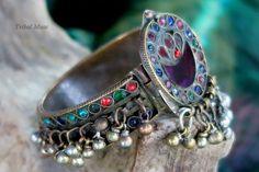 Vintage Kuchi Bracelet - Bejewelled Tribal Jewelry Pin Cuff by TribalMuse on Etsy