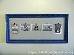 decorating with pictures - love this repurposed frame - can change out photos as desired