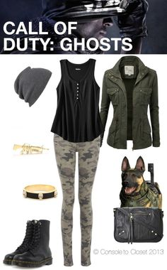 Inspired by Call of Duty: Ghosts and based on the personal style of CoD superfan, iJustine.   For more gaming inspired outfits, check out Console to Closet (http://consoletocloset.com)!