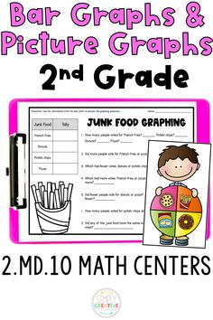 2nd grade students will love creating and reading bar graphs and picture graphs (pictographs) with these 2.MD.10 graphing math centers! They align with 2nd grade Common Core standard 2.MD.10 for students to work on making bar graphs/picture graphs and answering graphing questions. They are low-prep, fun, and engaging to use in math centers and rotations. Included are 4 different math stations for graphing: spin a graph, silent survey, graphing task cards, and count