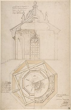 Plan of the Roof and Section of a Pavilion in the Gardens of the Château de Saint-Cloud (recto); Study for the Exterior with Partial Plan of the Pavilion (verso) ca. 1750.  Pierre Contant d'Ivry