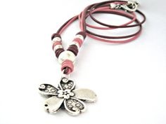 Dusty rose two tones leather necklace , $27.90