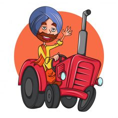 Cartoon illustration of punjabi man on tractor. Indian Illustration, Digital Illustration, Graphic Illustration, Retro Illustrations, Cartoon Books, Cartoon Pics, Cartoon Drawings, Desenho Pop Art, Rajasthani Art