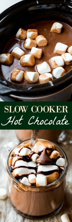 Thick and creamy slow cooker hot chocolate made easy in the crockpot! Recipe on… Thick and creamy slow cooker hot chocolate made easy in the crockpot! Recipe on sallysbakingaddic… Holiday Baking, Christmas Baking, Christmas Desserts, Winter Desserts, Winter Drinks, Christmas Meals, Christmas Christmas, Xmas, Weight Watcher Desserts