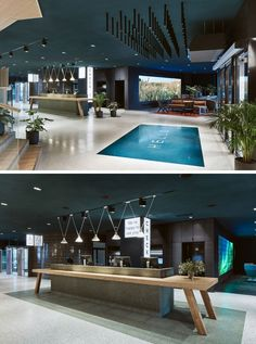 As guests enter this modern hotel in Finland, a large 'HELLO' welcomes them, before reaching the reception desk that resembles a large traditional Finnish wooden dining table. Reception Counter Design, Hotel Reception Desk, Reception Rooms, Modern House Design, Modern Interior Design, Hotel Signage, Cumulus, Office Lounge, Airport Lounge
