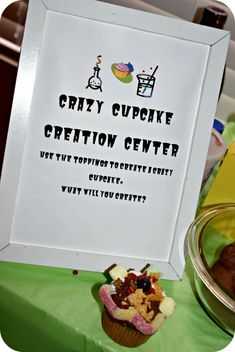 Crazy Cupcake station at Mad Science Birthday Party. Kids can create their own weird yet fun cupcake!