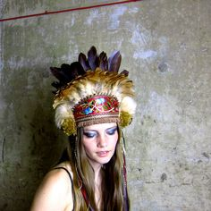 Through the Woods Autumnal Feather Crown Headdress by Hapuska