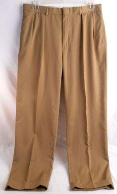 POLO RALPH LAUREN Mens Pants Pleated Front Size 36x32 Brown #PoloRalphLauren #mensslacks