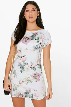 Madeleine Floral Curved Hem Shift Dress