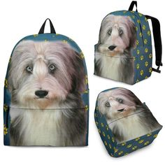 Bearded Collie Print Backpack- Express Shipping – The Whisker Depot cca914d8764a3