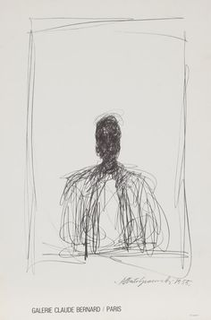Artist: Alberto Giacometti, Swiss (1901 - 1966) Title: Galerie Claude Bernard / Paris Year: 1955 Medium: Lithograph Poster on laid Ingres Lana Paper Size: 25.5 in. x 16.75 in. (64.77 cm x 42.55 cm)