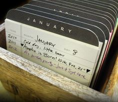 Desktop Perpetual Calendar by 1canoe2 on Etsy...I think this would be a fun way to look back on the year as kind of a journal.