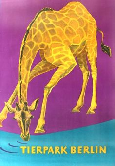 Tierpark Berlin Zoo Giraffe, 1967 - original vintage poster listed on AntikBar.co.uk