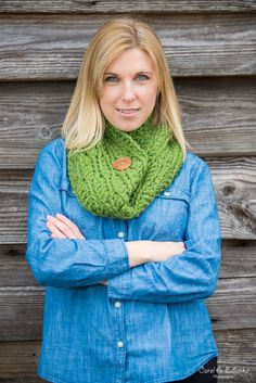 Chunky Button Cowl Scarf - Versatile, wool blend cowl scarf in Grass Green, featuring a stylish carved wood button.