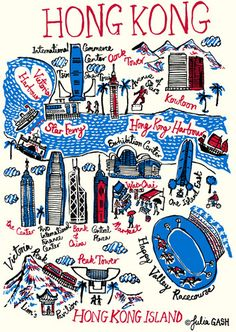 Hong Kong Cityscape map by Julia Gash Hong Kong Art, Kindergarten Art Projects, Doodle, Cityscape Art, Thinking Day, City Maps, China Travel, Vintage Travel Posters, Cartography