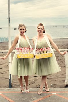 50s retro style bridesmaids in pale green dresses, from 'A Fun and Fabulous Vintage Pinup Inspired Wedding in Italy'. http://dottiephotography.co.uk/