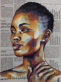 Portrait Afrique, peinture et papier journal. Cheekbones