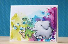 "Mama Elephant-Ella & Friends—background ""smooshing"" technique that Betsy Veldman taught in her latest Make It Monday video with Distress inks."