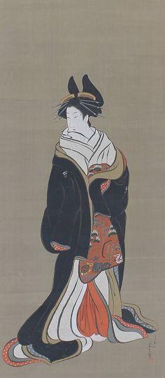 Bijin (Beautiful woman), or ukiyo-e depicted a high fashioned courtesan by Chobunsai Eishi (1756-1829). Edo period. Japanese hanging scroll painting.