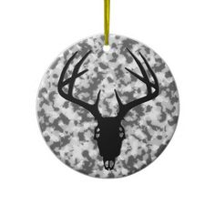 Deer Hunting Skull w/ Antlers Christmas Tree Ornaments
