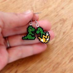 Baby Dinosaur Earrings Cute Jewelry Seed Bead by BeadCrumbs