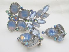 Blue Moonstone Art Glass Brooch and Earrings