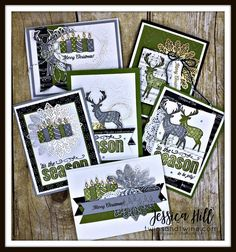 Merry Patterns, stampin' up, online class, old olive, basic black, merry music specialty dsp, smoky slate, foil snowflakes, old olive baker's twine, whisper white, metallic thread, christmas card, holiday, deer, candles