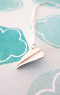 Silver Paper Airplane necklace simple