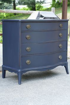 Dresser painted with General Finishes Milk Paint from Rockler in Coastal Blue. Dresser painted with General Finishes Milk Paint from Rockler in Coastal Blue. Refurbished Furniture, Paint Furniture, Repurposed Furniture, Furniture Projects, Furniture Makeover, Bedroom Furniture, Indigo Furniture, Blue Painted Furniture, Primitive Furniture